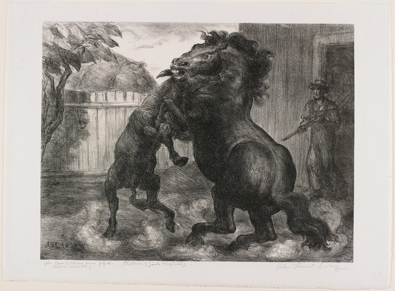 mule at L and large stallion at R on their hind legs, butting together; clouds of dust under their feet; man with pitchfork at R; fence and tree at L