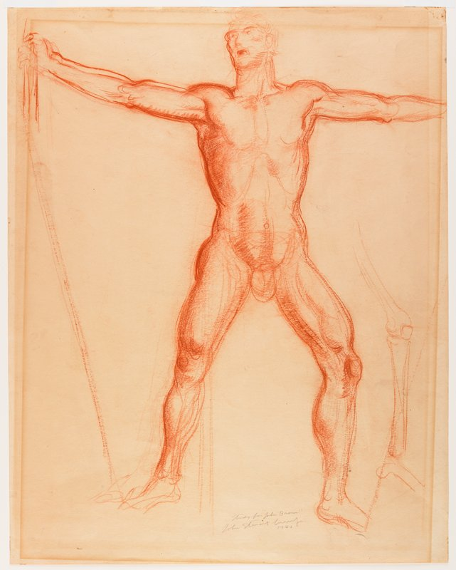 sketch of nude male standing with legs apart and arms stretched out to sides; sketch of limb (leg?) bones at right edge