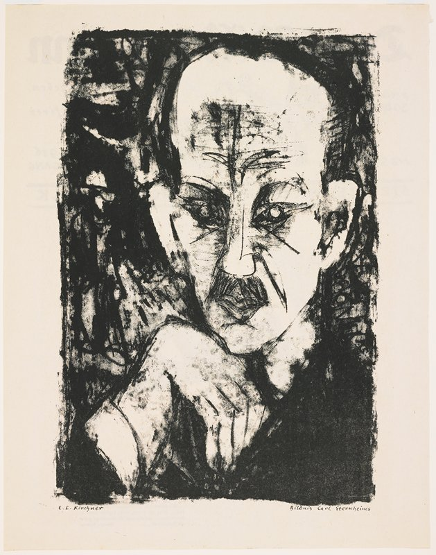 "abstract portrait of a man with his PR hand bent downward under his chin; small moustache; balding; verso: front page of ""Der Bildermann,"" August 5, 1916, with lithographs of a smoking man talking on the telephone and a group of people around a newsstand, along with text in German"