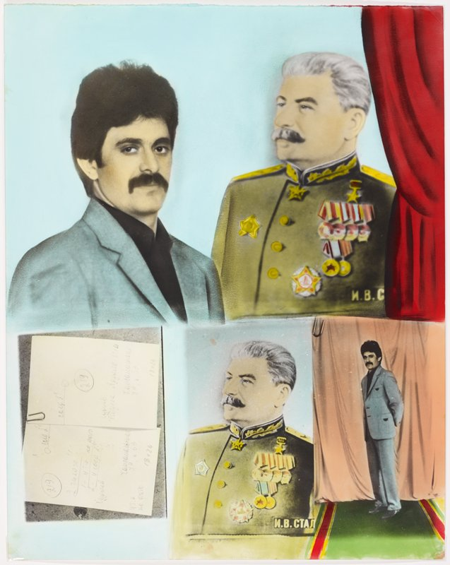four images: top image of man with thick dark hair and moustache, wearing blue suit and black shirt, at left; old image of Stalin wearing uniform at right next to man; red curtain at right edge; three images at bottom: image at left of two handwritten documents in Russian; center image of Stalin; right image of man with moustache full-length, in front of a peach curtain, standing on a green, red and yellow carpet; white frame