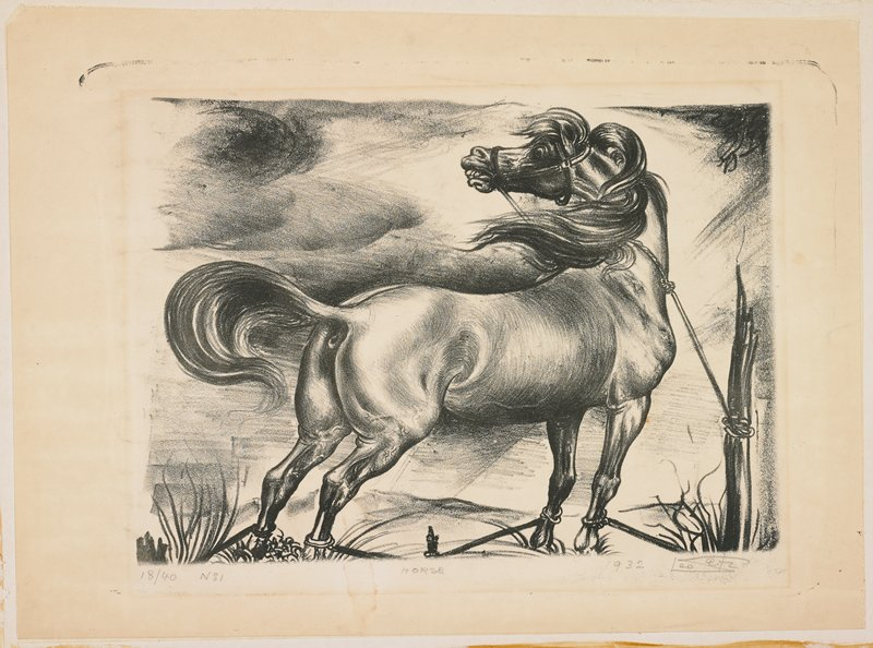 standing horse seen from PR, tied with ropes by ankles and neck; horse looks back toward left; dark cloud-like forms in sky