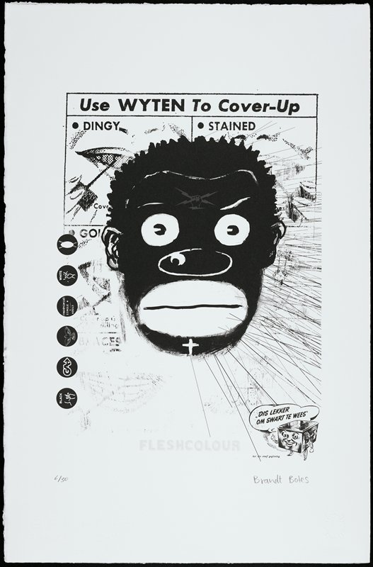 """caricature face of black man with round eyes, wide ovoid nose and very wide ovoid lips; symbol in grey on man's forehead of hand holding two lightening bolts; symbols and text in black circles at left; personified stove with German or Dutch (?) text, LRC; reproduced tooth whitener ad at top, reading, """"Use WYTEN To Cover-Up"""""""