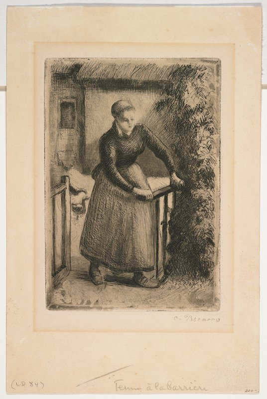 Woman in full skirt enters through gate; chickens and building with thatched roof behind her; small gold frame