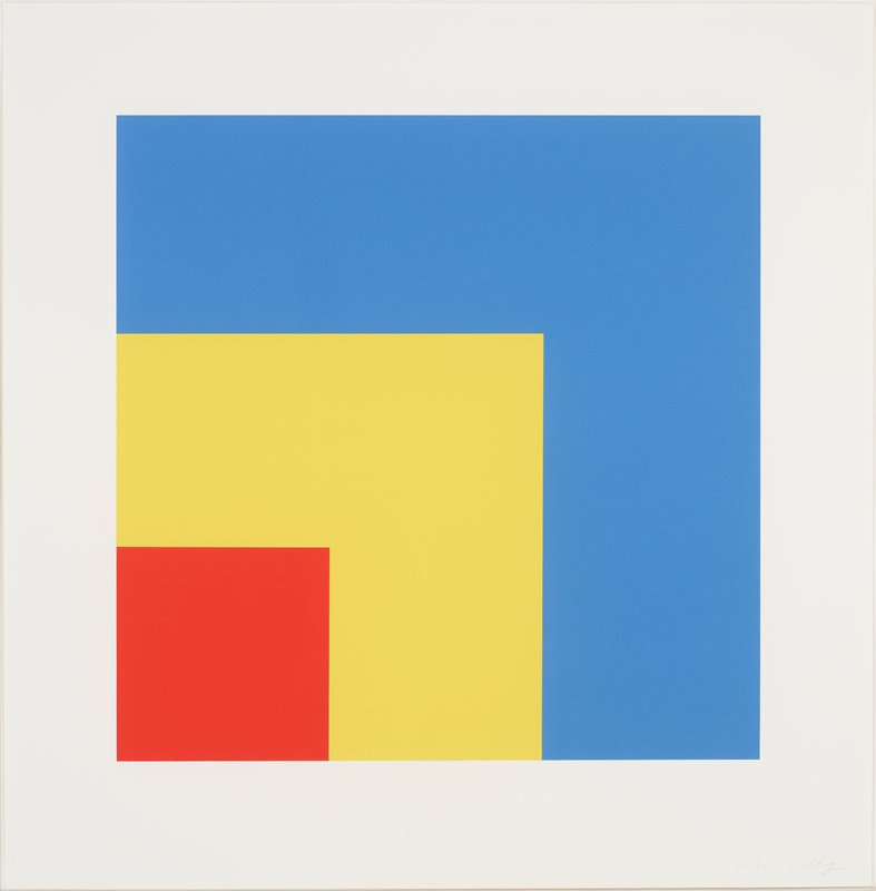 Red square is in the LL corner of a larger yellow square, which is in the LL corner of a larger Blue square; white border; linen wrapped mat with gold frame