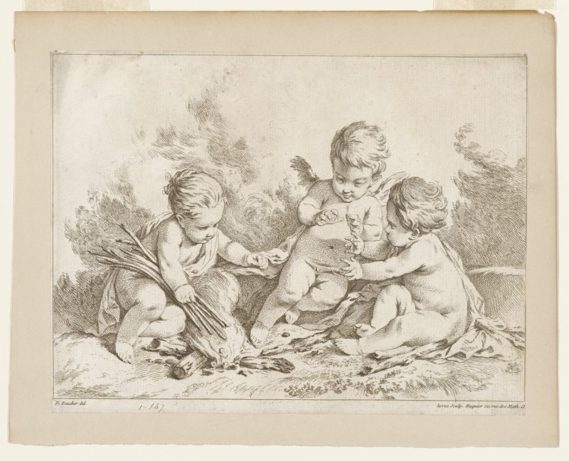 Three putti seated around a fire; putti on left holding sticks; putti on right and putti in center reaching toward fire