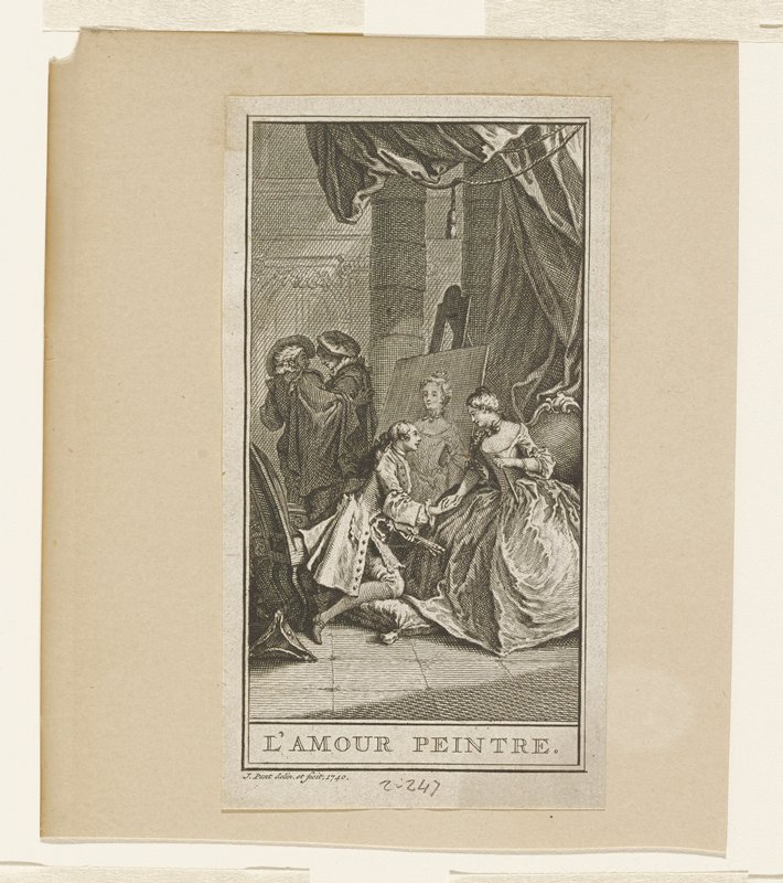 woman half standing; artist holding brushes kneeling on cushion; two men talking in background; one of four small prints on single mat