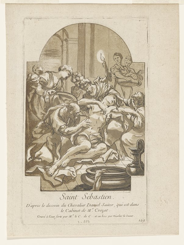 man half lying on cloth; group of people surrounding him; man holding torch behind him; man attending to wounds at left; women background left and right