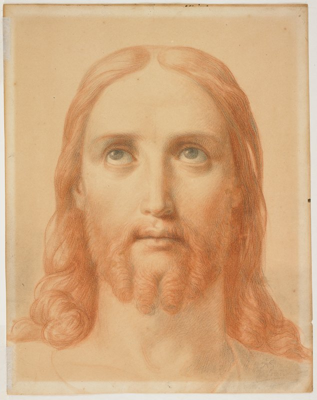 recto: face of Christ with long wavy red hair and red beard with four curls; eyes looking upward and slightly to PR; verso: face in profile from PR, with tears on cheek; wearing veil on head, with foliage in hair