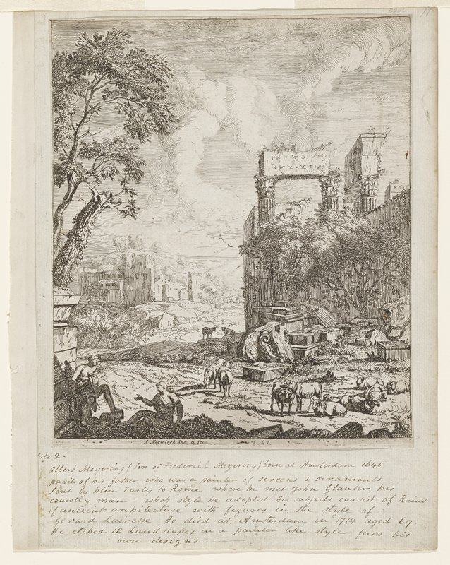 flock of sheep center foreground; two seated figures lower left; ruins on right and debris in field with sheep; town left distance; trees left above figures