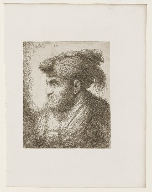 portrait of a man; head and shoulders; turban-like hat with feathers(?) at back; bundle on top front to back