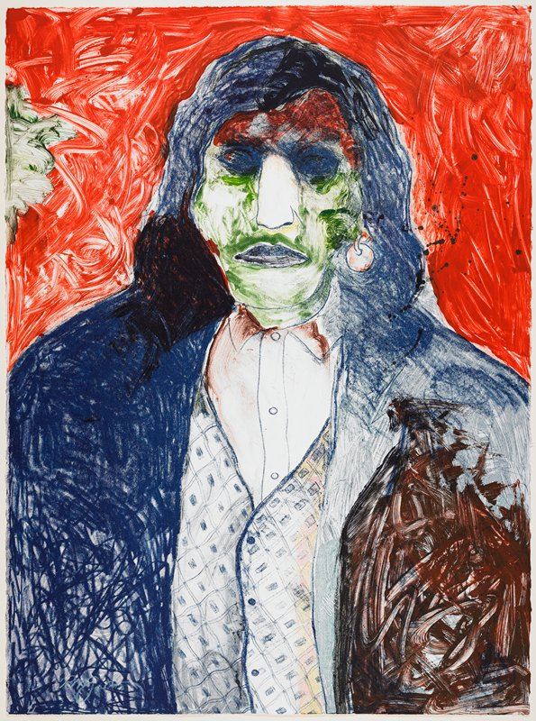 portrait of head and upper torso of man in sketchy style with green face, blue hair, blue and brown jacket, patterned vest, disk earring; red and green ground