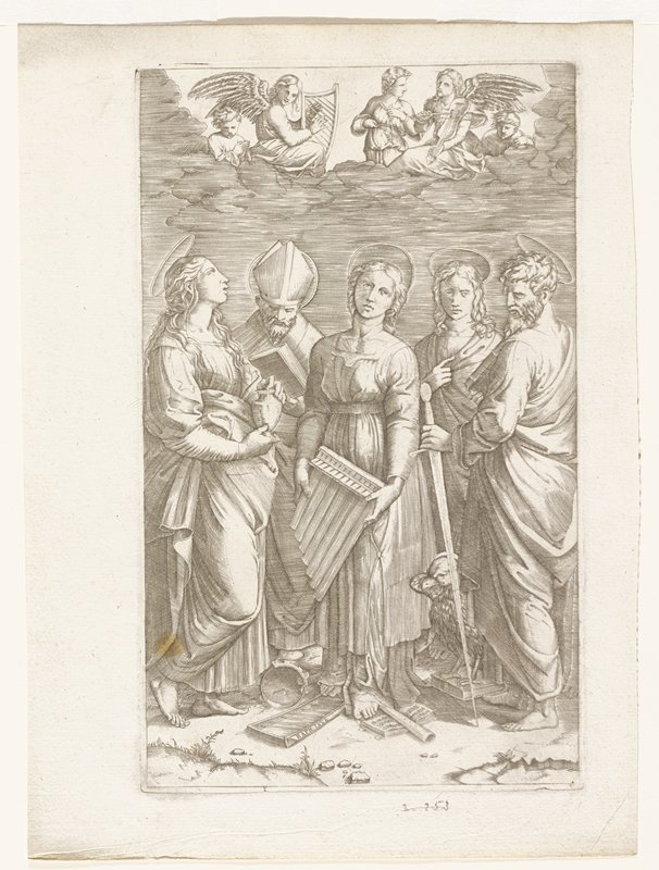 five standing figures; all with halos; one man wearing bishop's mitre; central female figure holding pipes; musical instruments on ground and under her feet; man at left holding sword; large bird at his feet; angels above in cloud