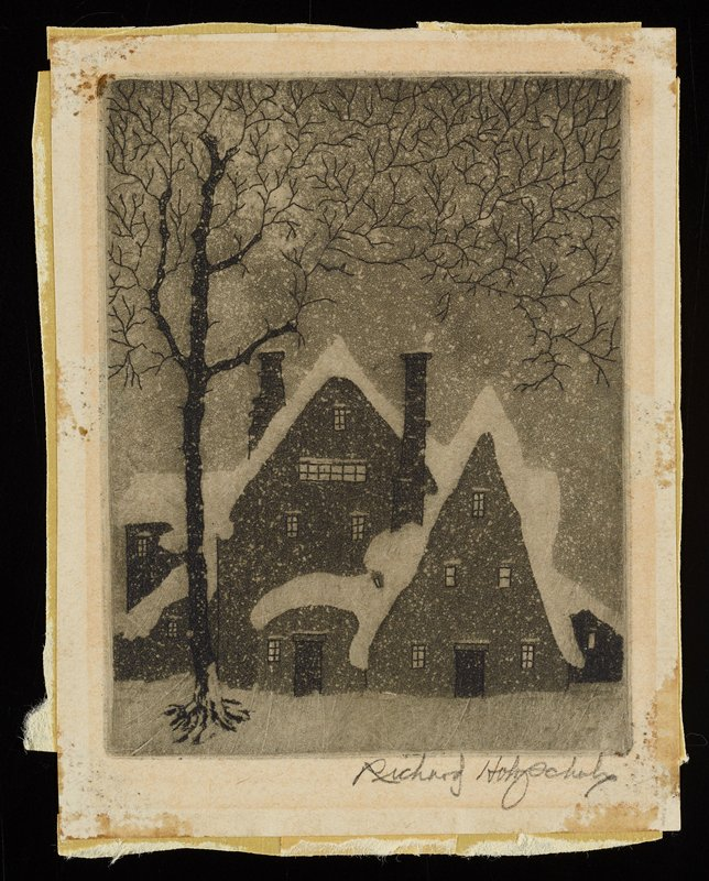 large cottage-style house with roof covered in snow; tall, thin tree with bare branches at left; snow falling from sky