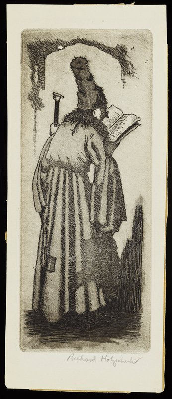 standing man seen from behind, turned 3/4 toward PR; man has long hair and wears long robe with patches skirt and long, flowing sleeves and fuzzy tall cap, and holds a book in his PR hand and a staff in his PL hand