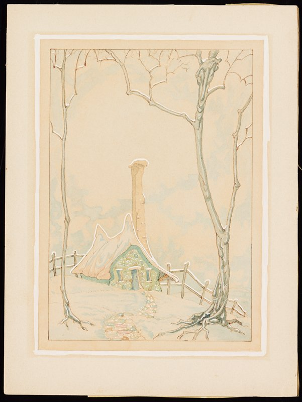 small green stone cottage with very tall chimney; two tall bare trees flank winding stone path up to cottage door; fence behind cottage; snowy landscape