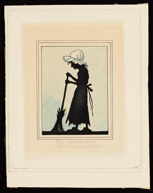 "silhouette of a woman sweeping, wearing a white bonnet (not in black silhouette); blue ground; ""The Marchioness / Old Curiosity Shop"" in pencil under image"