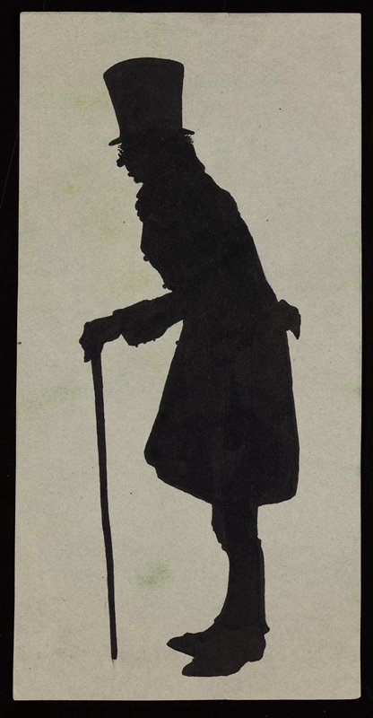 silhouette of old man in profile, slightly stooped, wearing a top hat and leaning on a cane