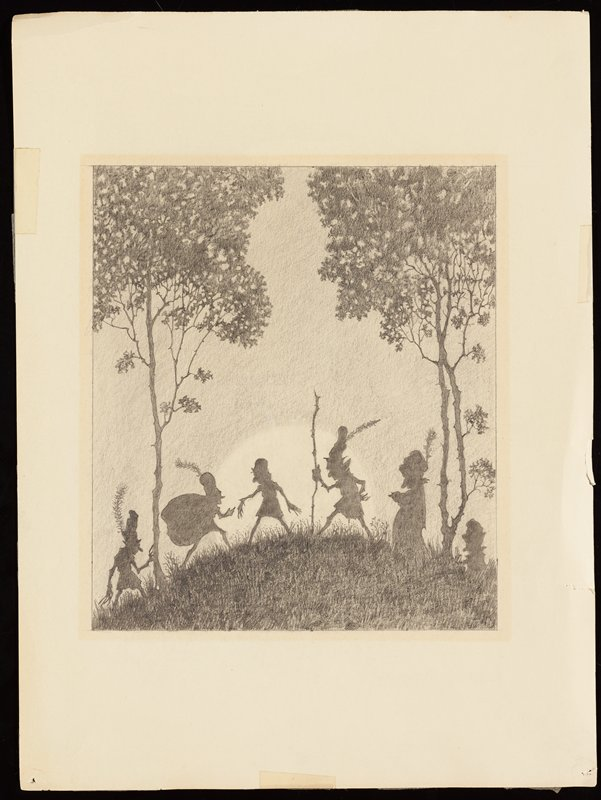 six silhouetted figures on a small hill; four figures wear caps with very tall feathers; one figure carries a large sack on his back; one figure has a walking stick; full moon on horizon behind figures; two tall trees with thin trunks at right and left edges of image
