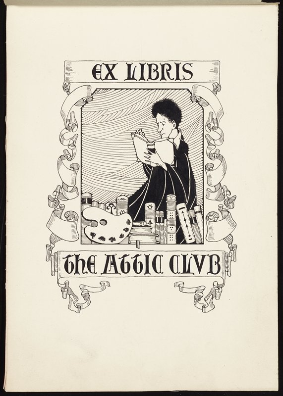 "man with short, curly, black hair, wearing a black flowing garment, reading a book, with books and an artist's pallet before him; scrolling ribbons around image, with text: ""EX LIBRIS / THE ATTIC CLUB""; tissue paper overlay glued to top of card on back"