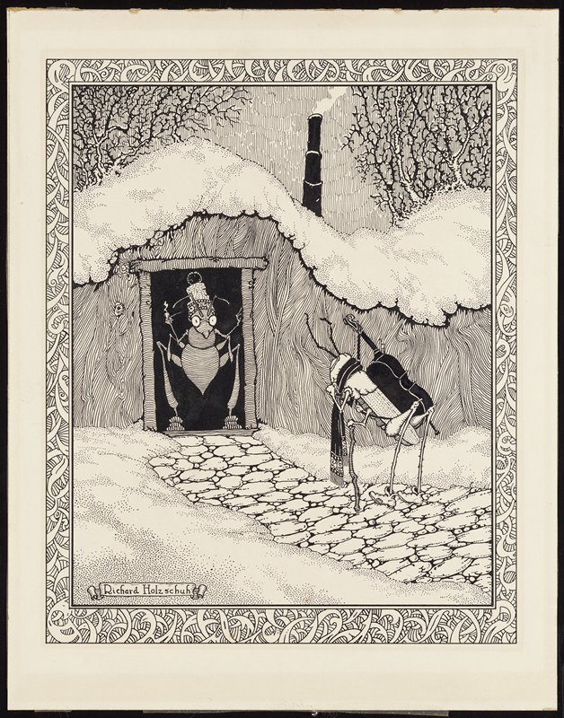 ant, wearing a cap and glasses and holding a pipe, standing in a doorway; grasshopper, wearing a scarf and holding a cello on its back, standing on a cobblestone path in the snow leading up to doorway