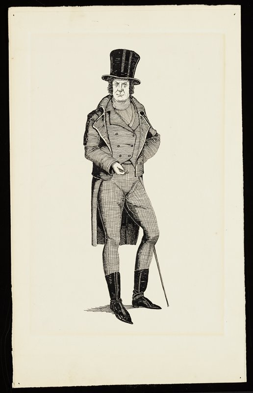 standing man with thick sideburns, wearing a top hat, vest, long boat with tails, checkered pants and short boots, with a walking stick