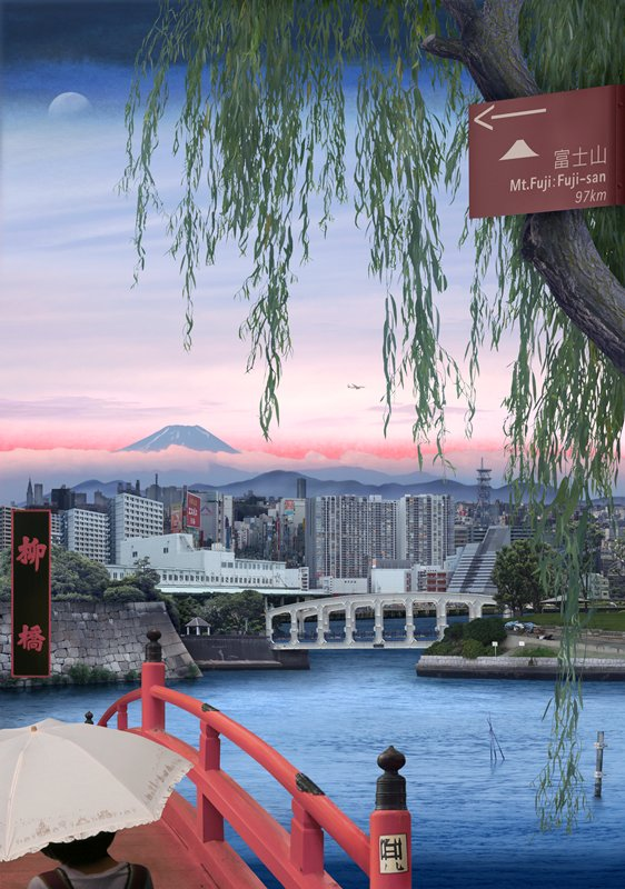 part of willow tree in URQ; red bridge in LLC; water in middle ground; city landscape and mountain in background; black metal frame on light box