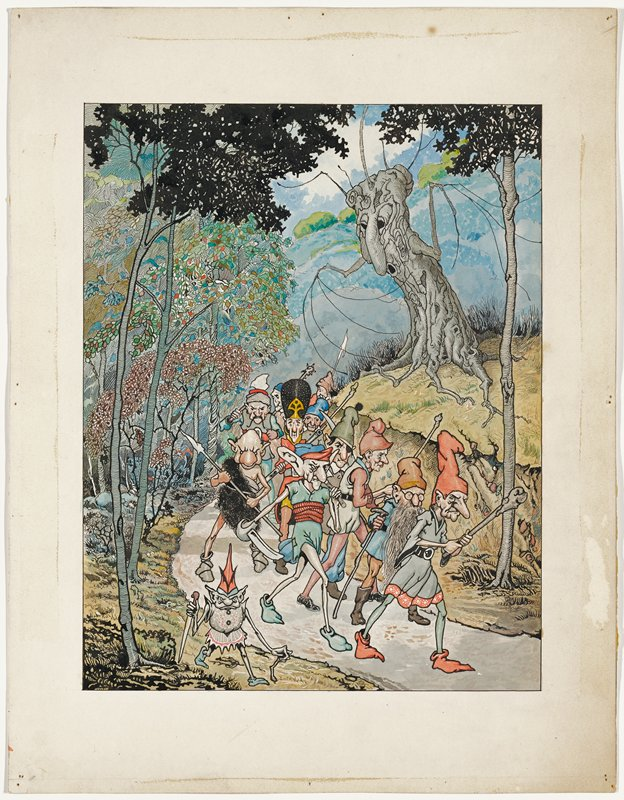group of elves and other fantastic creatures marching down a path in a forest, with clubs, staffs, daggers, swords and spears; personified tree in URQ