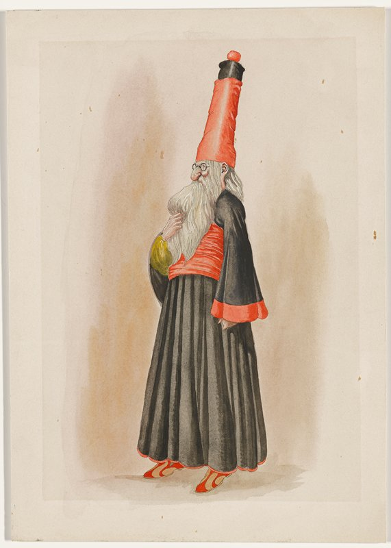 standing figure, turned slightly from profile; man wears black robe with wide red sash, red trim at hem, one red cuff and one yellow cuff, tall red and black hat, and tan and red slippers; man has long thick white beard and elongated earlobe
