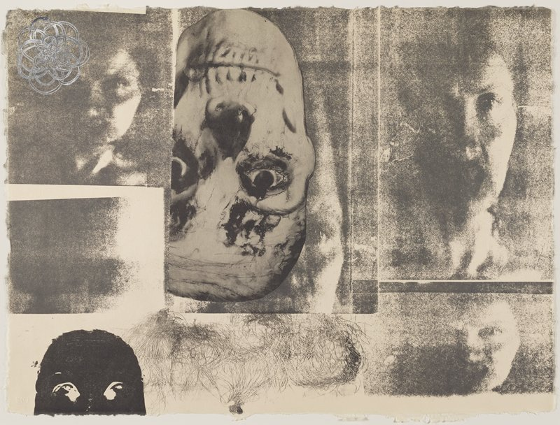 from a suite of 12 lithographs--.3-5,.8,.10,.11 and .1,.2,.6,.7,.9,.12 each framed together in two frames; upside down skull with eyes at center; shadowy images of faces; black negative image of mask/face, LLC