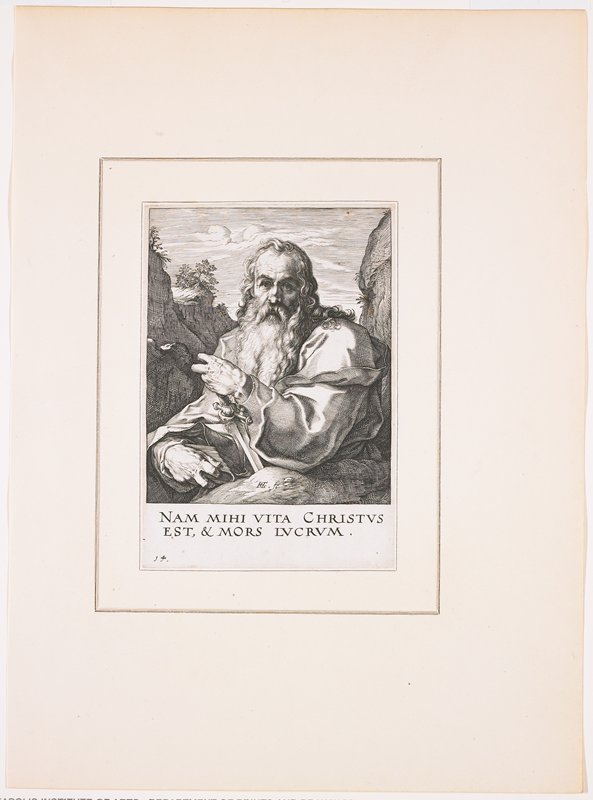"""old man with long curly hair and long wavy beard, resting his PL hand on the hilt of a sword and holding a book in his PR hand; rugged landscape behind man; text at bottom: """"NAM MIHI VITA CHRISTUS / EST, & MORS LUCRUM."""""""