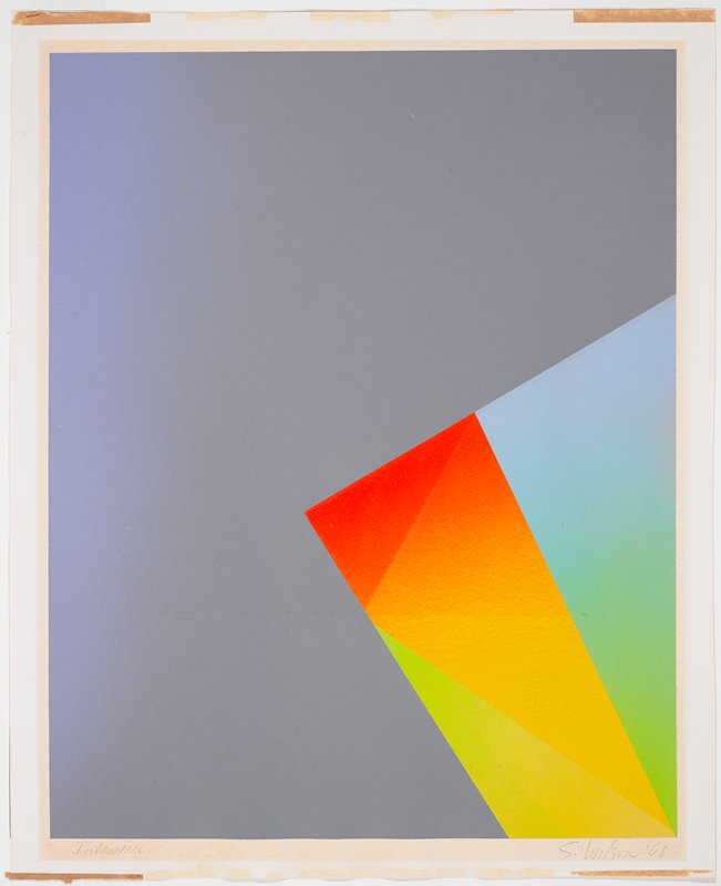 abstract image; blue ground fading subtly into grey at right edge; triangular forms in LRC in pale green, yellow, orange, red and pale blue--color shading subtly into other hues
