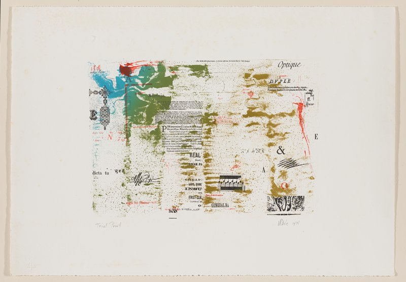 small paragraphs, lines of text, words, letters, bar of music scattered throughout image, in black and red; abstract cloudy areas of color and spots of color over text in red, khaki, forest green and medium blue