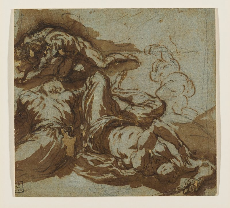three figures on the ground--one on hands and knees; a sketched-in fourth figure in URQ