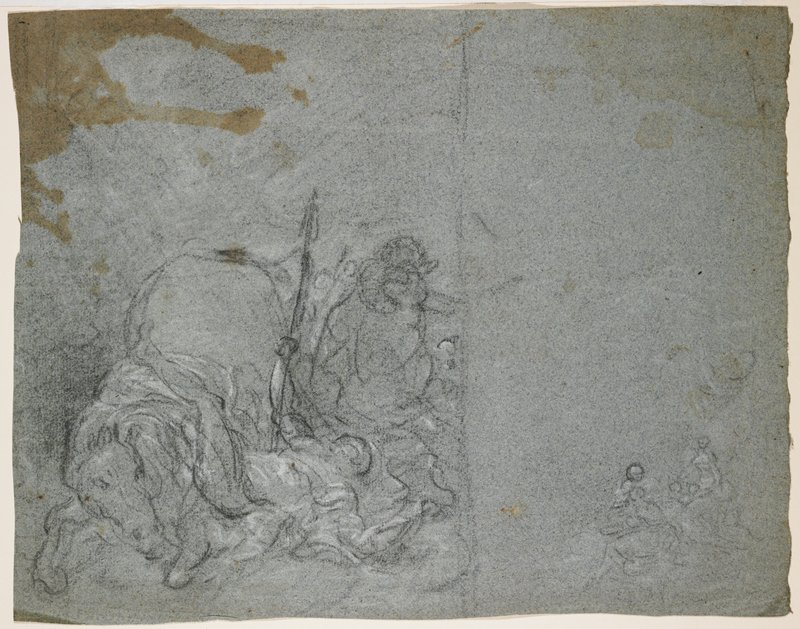 recto: sheet divided into two sections with vertical line in black chalk; right section mostly blank, with small sketchy study of figures in LRC; left section has sketch of horse with front legs down, with rider falling from his mount; rider holds a long staff or spear vertically; verso: study of a PR hand with sketchy drapery (?) above