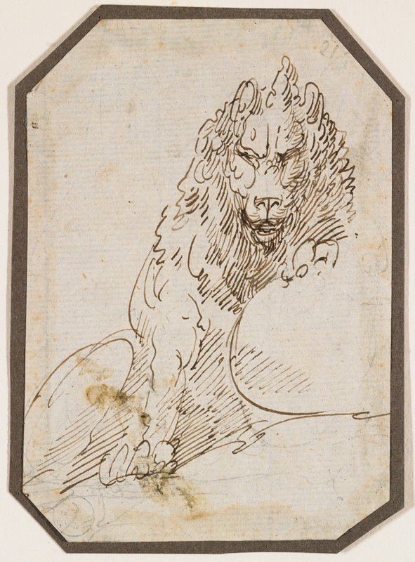 sketch of male lion with PL front paw raised on a rock, directly under his chin; corners of sheet and mount clipped