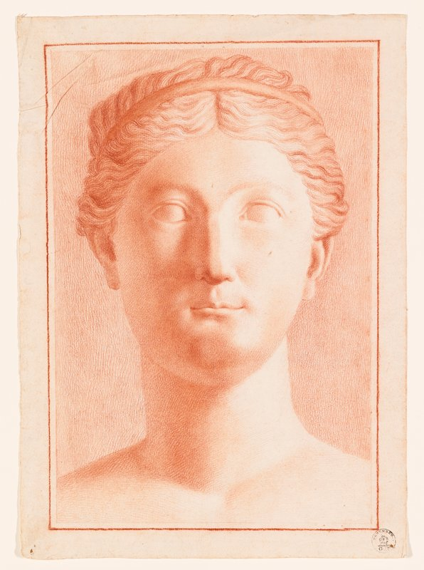 drawing of sculpted head of woman with round face and rather thick neck; hair in waves--wearing headband