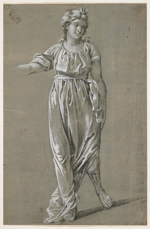 woman walking, seen from front; woman has long wavy hair and wears a gown with a slit in PL side, allowing a view of tall sandals; gown tied with a sash at waist; scooped neckline; PL arm at side; PR arm held away from body, with arm unfinished and hand out of picture plane; grey wash overall on background