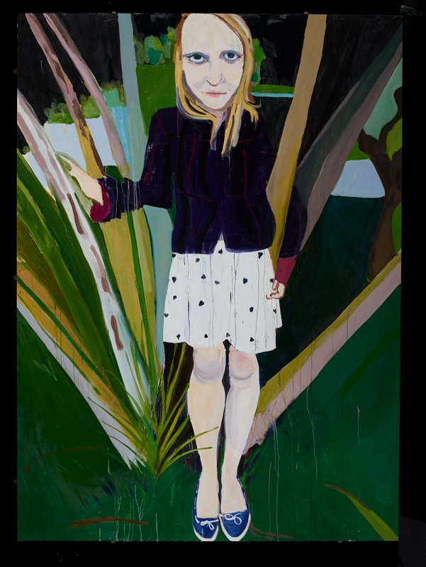 "full-length portrait of a woman with straight blonde hair standing in a landscape wearing a dark purple jacket with fuschia trim, short white skirt with purple dots and blue shoes; mounted on aluminum stretchers with aluminum ""frame"" (applied before painting was completed)"