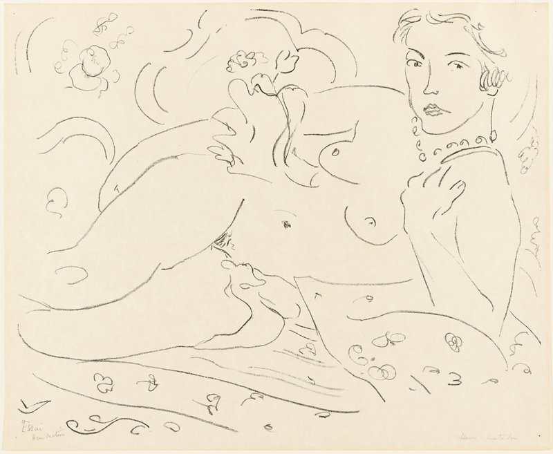 line drawing style nude woman wearing a beaded necklace, reclining on her PL side, leaning on her PL elbow, with her PL hand on her shoulder and her PR arm along her side