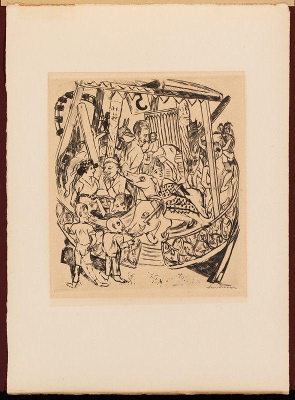 abstracted image of adults riding on a merry-go-round with two children in LLC watching; woman in front riding on boar; two couples seated in a round seat at left