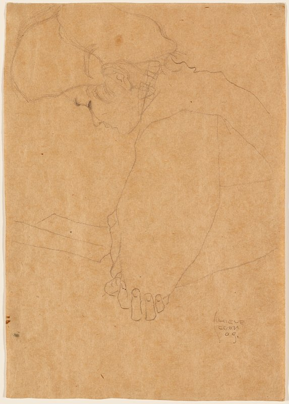 line drawing of head and torso of a woman seen in profile from PL, looking down at a book; woman's PR hand beneath her PL elbow