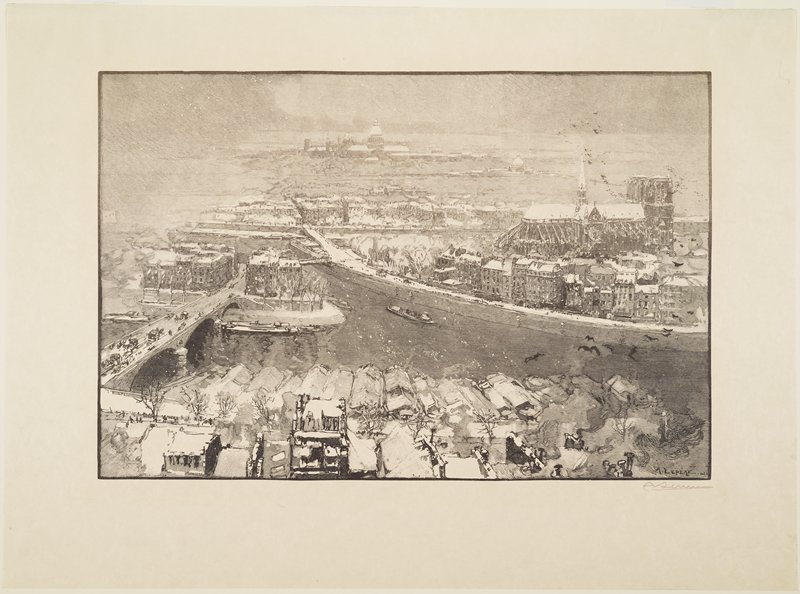 high view over Paris with falling snow and snow on rooftops; Notre Dame in URQ; carriages, horses and people of bridge at left; boat on Seine at center; snow-covered roofs in foreground; black birds at left