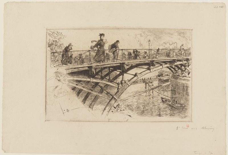 pedestrians walking across an iron bridge; boat on water in URC; lightly-delineated man leaning over low wall looking at water at left edge