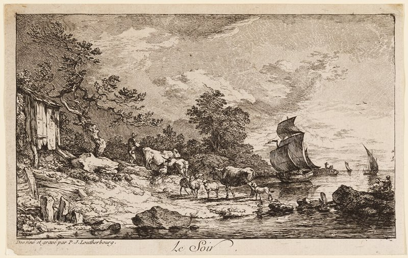 cattle and calves on shore at center, with sailboats at right; shack at left; figures left of center, accompanying cattle, and on rocks at right, watching boats