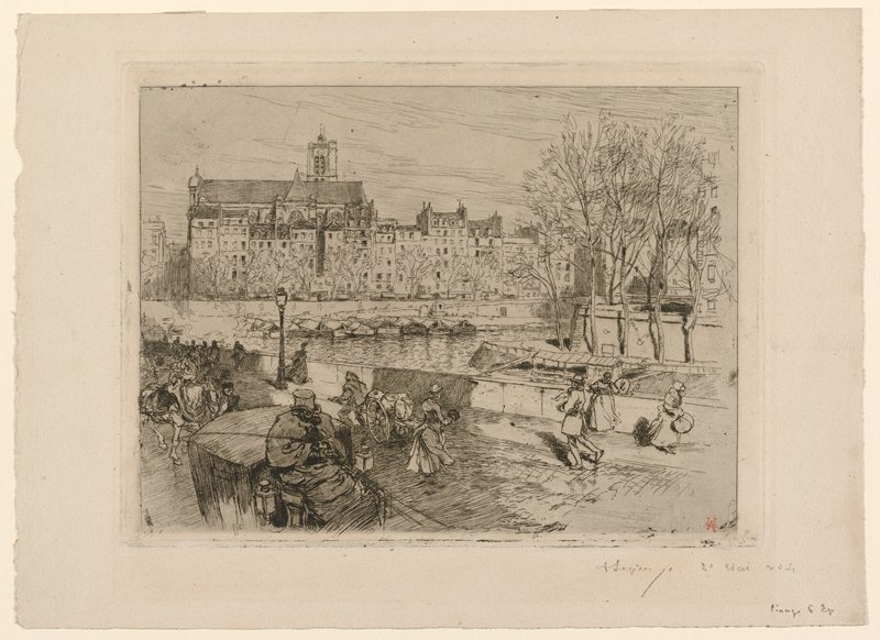 driver seated on a carriage, LLC; man pulling cart, bottom center, with a walking woman; other pedestrians and horse at left; view of river with cluster of bare trees in ULC; buildings on opposite bank of river