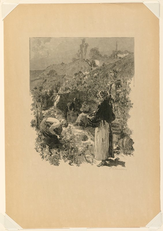 people working in a field; standing woman, LRC, holding a basket, in profile from left; squatting woman in LLC; three figures at center including seated man and man with three barrels; trees in URQ at horizon line
