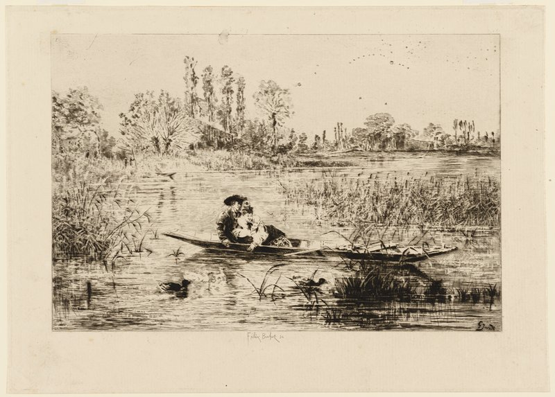 couple in a boat watching swimming ducks in a marsh