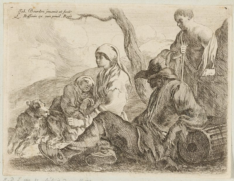reclining man wearing cap in foreground, leaning on a fallen column (?); young man in URC; woman wearing a headscarf holding a sleeping child at center; dog at left