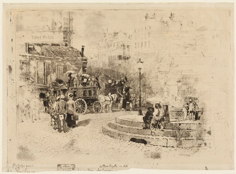 round island in street at left; two figures (children?) seen from back at right on island, leaning over wall; woman and figure in dark outfit and pointed cap, sitting beneath umbrella, on top step of island; three standing figures at left; wagon and white horse at center left; buildings in background; some light sketchy scenes in URQ and LRC