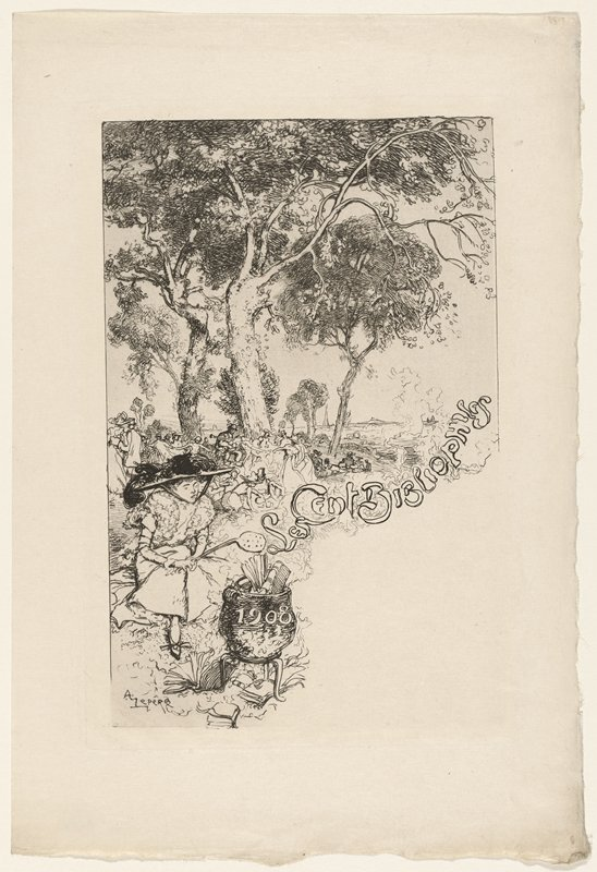 "woman wearing a large hat with black feathers, holding a slotted spoon, seated behind a cauldron filled with books; other figures beneath trees in middle ground at left; trees on top half of image; ""1908"" on cauldron; ""Les Cent Bibliophiles"" in smoke coming from fire beneath cauldron"
